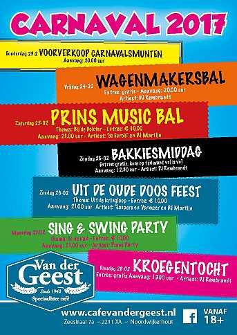 Café van der Geest Bakkiesmiddag - Zondagmiddag Carnaval